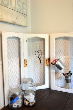 10 DIY Projects You Can Make With Old Cabinet Doors - Addicted 2 Decorating® - cabinet door diy projects–office organization from meridian road Best Picture For home diy decor - Cabinet Door Crafts, Kitchen Cabinet Doors, Cupboard Doors, Cabinet Stain, Art Cabinet, Cabinet Fronts, Kitchen Cabinets, Cabinet Ideas, Chicken Wire Crafts