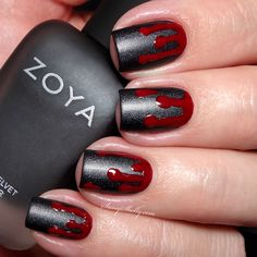 Halloween Nail Art - Blood Drip manicure with Zoya Dovima matte  |  Sassy Shelly