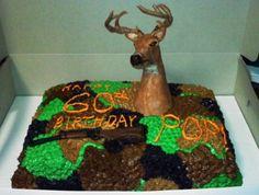 deer head, rifle and camo cake