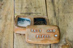Australian handmade ceramic Salt & Pepper pinch pot by www.millerspottery.com