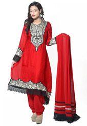 Red Faux Chiffon Jacquard Readymade salwar Kameez