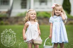 Smocked Tabitha's Teachers Pet Dress - Buckhead Blue with Floral Smock - The Beaufort Bonnet Company