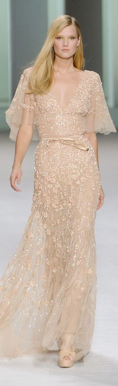 Elie Saab Spring 2011 ~ Paris                                                                                                                                                                                 More Elie Saab Dresses, High Fashion Looks, Dressy Dresses, Fashion Belts, Fashion Moda, Style Fashion, Fashion Dresses, Pink Wedding Dresses, Bridesmaid Dresses