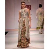Ivory Kurta with Floral Long Skirt by pratima pandey
