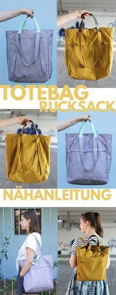 Totebag Tutorial Additional Tutorial for Backpack Bag sewing Sewing Hacks, Sewing Tutorials, Sewing Tips, Bags Sewing, Dress Sewing, Diy Rucksack, Diy Fashion, Fashion Clothes, Fashion Wear