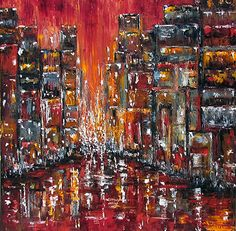 Sunset City by Debra Hurd Oil ~ 30 inches x 30 inches