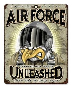 Vintage and Retro Wall Decor - JackandFriends.com - Vintage USAF Unleashed Metal Sign, $39.97 (http://www.jackandfriends.com/vintage-usaf-unleashed-metal-sign/)