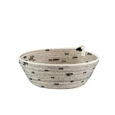 Organiser cotton rope basket in ivory with black stitch detail