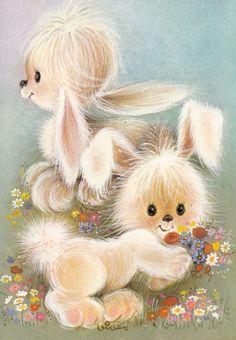 ❤️Bunnies (From Annie) Cute Animal Illustration, Cute Animal Drawings, Animal Illustrations, Easter Pictures, Animal Pictures, Cute Images, Cute Pictures, Children Sketch, Nursery Paintings