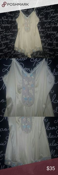 VINTAGE teddy lingerie This is a vintage yellow and pastel embroidered and Lace Teddy in excellent condition no sign of wear with adjustable straps and snapping crotch. One of a Kind have not seen anything like it.  Please ask any and all questions before purchasing this item Vintage Intimates & Sleepwear Bandeaus