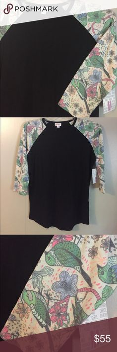 """Bird Print Raglan Tee LuLaRoe raglan baseball style tee """"Randy"""" new with tags! Black body with gorgeous bird printed sleeves. This is a hard to find """"unicorn"""". I bought on eBay and unfortunately it's too big for me 😩 High low style and can be worn with leggings. LuLaRoe Tops"""