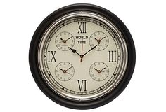"World Time Wall Clock 17""D x 4.5""W, $325/89    on OneKingsLane.com"