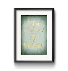 Digital Quote Art, Printable Art, Music Is A Moral Law, It Gives Soul To The Universe, Famous Quotes, Music Quotes, Poster
