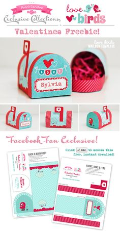 FREEBIE | Valentines Day: Love Birds Mail Box | Print Candee BlogPrint Candee Blog