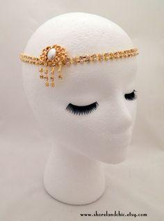 The Sybil - Crystal pearl gold headpiece, 1920s wedding hair chain, gold pearl Gatsby hairpiece, pearl art nouveau hair chain