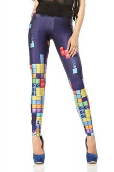 514ca0ea69 Beat your high score in our cute and geeky Tetris print leggings. The  stretchy leggings feature a classic game design throughout
