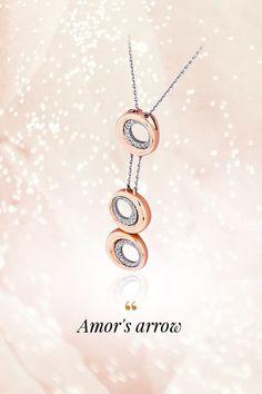 Diamond necklace Amor's arrow, handmade, natural gemstones: diamonds, white & rose gold, Pure Diamond collection. Amorov šíp vás osudovo zasiahne pri našej nádhernej diamantovej novinke Amor's arrow. Tri efektne rozmiestnené kruhy symbolizujú minulosť, prítomnosť a budúcnosť. Zažite toto večné diamantové súznenie na vlastnej koži a oceňte vlastnú jedinečnosť! Arrow, White Roses, Natural Gemstones, Rose Gold, Glamour, Pendant Necklace, Pure Products, Jewelry, Diamond