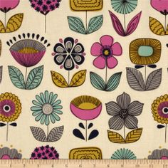 Mecca for Modern Urban Garden Flowers Tea - Discount Designer Fabric - Fabric.com