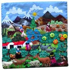 """""""Arpilleras or cuadros, exquisitely detailed hand-sewn three dimensional textile pictures, illustrate the stories of the lives of the women of the shantytowns (pueblo jovenes) of Lima, Peru and provide essential income for their families.   """"Arpilleras originated in Chile, where women political prisoners who were held during the Pinochet regime used them to camouflage notes sent to helpers outside. Even the most suspicious guards did not think to check the appliquéd pictures for messages..."""