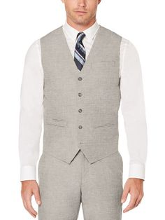 37c3d1bec6c Dress in Great Gatsby Clothes for Men Perry Ellis Slim Fit Heather Linen  Suit Vest  79.50