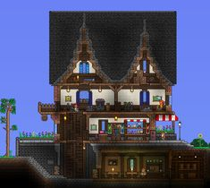 General Store and Tavern Terraria House Design, Terraria House Ideas, Terraria Tips, Terraria Castle, Sims 4 Houses, Biomes, General Store, Empire State Building, Legos