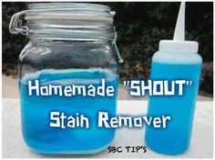 """Diy shout stain remover HOMEMADE """"SHOUT"""" STAIN REMOVER  ☀ 2/3 cups Dawn Dishwashing Liquid 2/3 cups ammonia 6 Tbsp baking soda 2 cups warm water Mix everything together and pour into a spray bottle. You can get the empty bottles at Walmart for about a dollar. When you get ready to use it each time, give it a good shake. Spray on stain and let soak for a few minutes. For tougher stains, rub the fabric together for a minute as well. Launder as usual."""