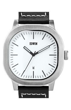 Edwin 'Anderson' Leather Strap Watch, 44mm