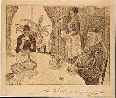 Paul Signac -de eetkamer 1887 / potlood en inkt op Japans papier. Signac maakte deze tekening als illustratie bij een artikel in een Frans tijdschrift over 'het moderne leven'.