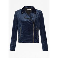 Great Plains Wren Velvet Biker Jacket - Classic Navy (155 AUD) ❤ liked on Polyvore featuring outerwear, jackets, classic navy, blue velvet jacket, rider jacket, blue zipper jacket, navy moto jacket and moto jacket