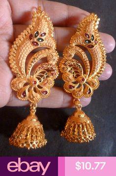 Gold Plated Meenakari Indian full ear Wedding Jhumka earrings Party Set a. Kids Gold Jewellery, Silver Jewellery Indian, Gold Jewellery Design, Gold Jewelry, Gold Bangles, Gold Necklaces, Wedding Jewelry, Gold Jhumka Earrings, Gold Earrings Designs