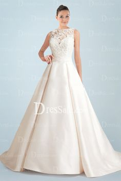 Queenly Satin Princess Wedding Gown Featuring Lace Overlay and Illusion Back