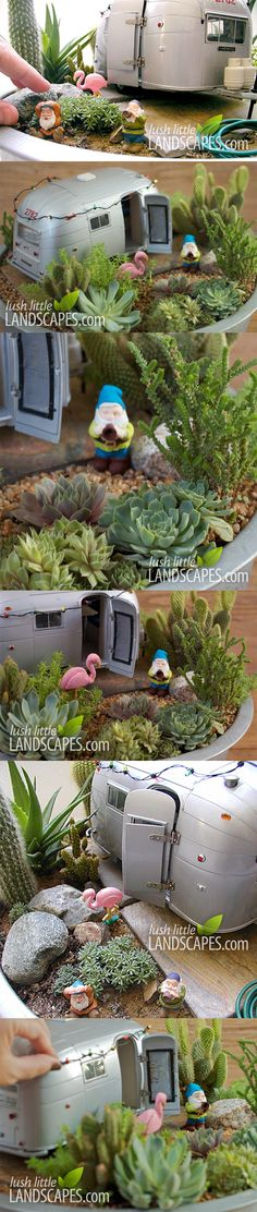 this is friggin' adorable - Airstream Trailer Miniature Fairy Succulent Garden | Lush Little Landscapes