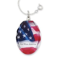 Crystal God Bless America Pendant 24 Inch Chain - Earrings, Necklaces, Rings, Bracelets, Pendants and More - Unique Jewelry at Affordable Prices | Nature's Jewelry
