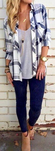 #fall #southern #american #style | Plaid Shirt + Grey Tee + Black Denim