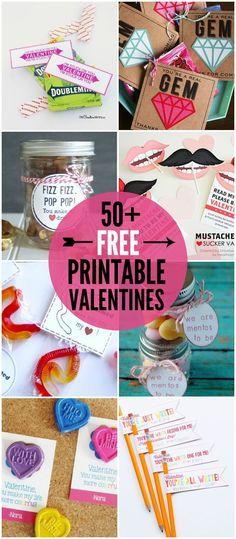 50+ FREE Printable Valentines - a roundup of lors of great Valentine's printables on { lilluna.com }