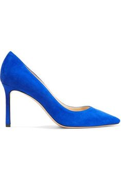Heel measures approximately 85mm/ 3.5 inches Cobalt suede Slip on Made in Italy
