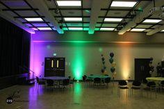 Mardi Gras themed uplighting at Purdue University Calumet, Hammond, Indiana.