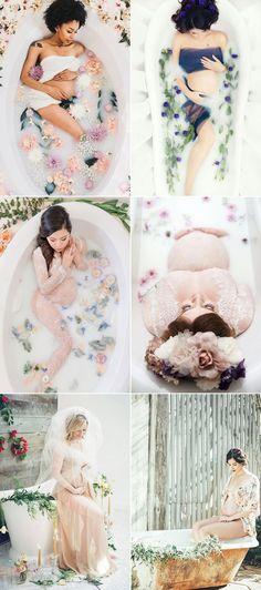 Oh Baby! 34 Beautiful Home Maternity Photos We Love! The Bathroom - Milk Bath Maternity Photos