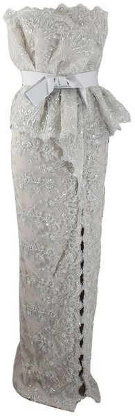 MARCHESA   Strapless Embroidered Lace Gown - Lyst