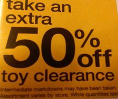 It's Back!Take an additional 50% off Clearance Price on Toys at Kmart!