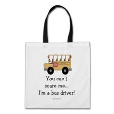 Bus Driver Tote Bag Bus Driver Gift Bus Driver Appreciation Embroidered You Can/'t Scare Me I Drive A School Bus School Bus Driver Bag