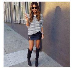Gap Tee, Zara skirt. Loving these Isabel Marant thigh high boots.