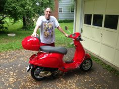 Mark B from Bloomfield and his 2014 Vespa Primavera 50 in Dragon Red! He also bought one in Midnight Blue too! Thanks Mark & be safe! :)  #Vespa #VespaHartford #Scooter #ScooterCentrale #Fun #Smile