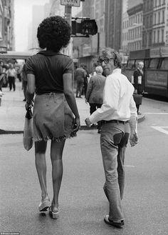 "1971Woody Allen & actress Tamara ""Cleopatra Jones""Dobson near the 57th Street Bridge, New York   Photo: Bruce Laurance"