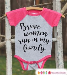 Kid's Cancer Awareness Outfit - Brave Women Run In My Family Onepiece or Tshirt - Pink Raglan for Baby, Toddler, Youth - Fight Cancer Outfit