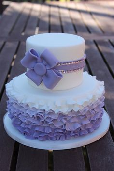 Purple Ruffles with a side of bling - by Daisyblue002 @ CakesDecor.com - cake decorating website