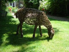 Willow Garden Or Yard / outside and Outdoor sculpture by artist Emma Walker titled: 'Willow Sheep 3 (Animal Woven Grazing sculptures)'
