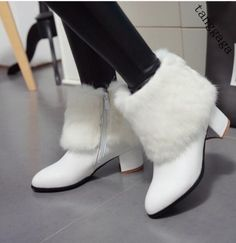 Womens Casual Elegant Pointy Toe Fur Trim Block Heel Zipper Ankle Boot Shoes