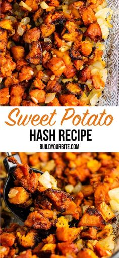 Sweet potato breakfast hash recipe with caramelized garlic and onion. So much flavor – this is perfect for breakfast! Sweet potato breakfast hash recipe with caramelized garlic and onion. So much flavor – this is perfect for breakfast! Sweet Potato Breakfast Hash, Paleo Sweet Potato, Vegan Recipes With Sweet Potatoes, Breakfast Potatoes, Vegetarian Sweet Potato Recipes, Sweet Potato Dinner, Sweet Potato Salads, Vegan Stuffed Sweet Potato, Stuffed Sweet Potatoes