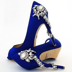 Badgley Mischka Shoes. Favorite jeweled wedding shoe in Sex and the City Blue, with a stunning rhinestone side ornament that wraps around the length of the heel.